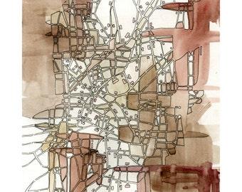 "Print - ""Sepia Lines (Cityspace #221)"""