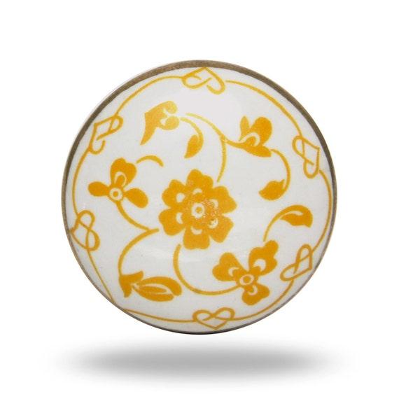 Poignée De Porte En Céramique Rétro Bouton Décoratif Blanc