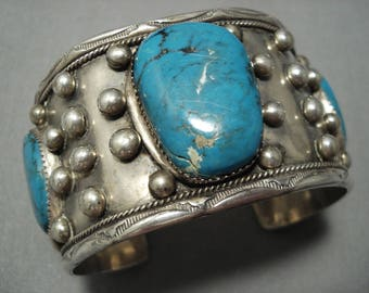 Very Rare Vintage Navajo Old Morenci Turquoise Sterling Silver Bracelet