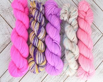 Feeling Fabulous Mini Kit - Hand Dyed Sock Yarn Heavy Fingering Weight 20g Mini Skein 92yds PlumpleBee Base 75/25 Superwash Merino/Nylon