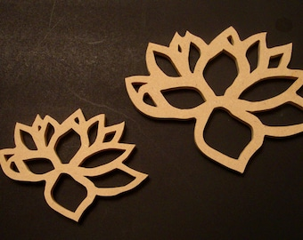 Set of Unfinished  Lotus Blossoms from Mdf Wood