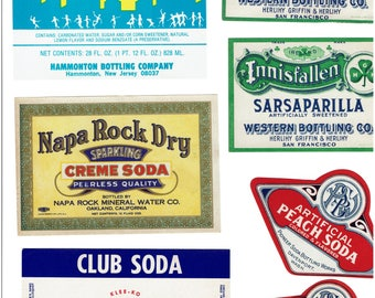 17 Soda Bottle Labels from the 1890's to the 1950's.  Ginger Ale, Orange, ect.   a