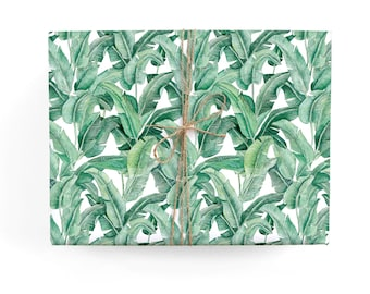 Banana Leaf Pattern Gift Wrap - Illustrated Botanic Celebration, Birthday, Special Occasion Wrapping Paper