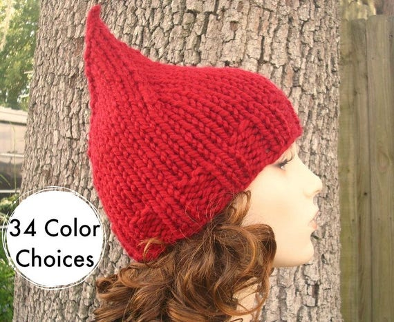 Knit Hat Womens Hat - Gnome Hat in Cranberry Red Knit Hat Womens Accessories Winter Hat - 34 Color Choices