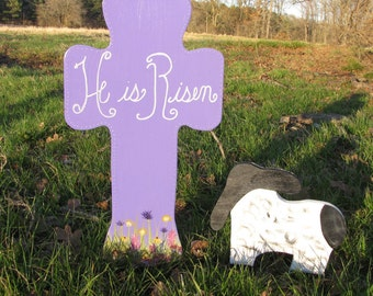 "Wooden ""He Is Risen"" Easter Cross and Lamb"
