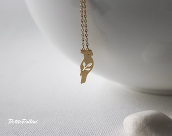 Cockatoo Necklace in Silver/ Gold. Parrot Necklace. Bird. Birthday Gift. Sweet 16. Everyday Wear. Gift For Her (PNL-117)