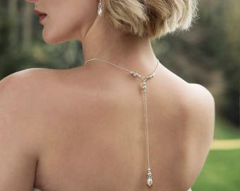 Pearl back drop necklace, bridal necklace pearl, bridal back drop necklace, silver back drop bridal - Annika