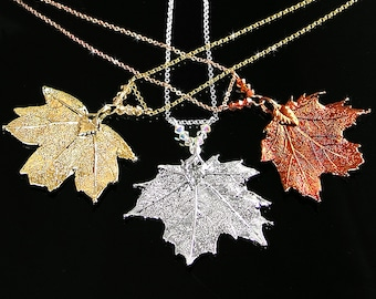 Gold Maple Leaf Necklace, Silver Maple Leaf, Real Maple Leaf Pendant Necklace, Copper Maple Leaf, Silver Leaf, Gold Leaf Nature Jewelry