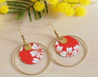 Japanese round earrings with red and white cherry blossoms