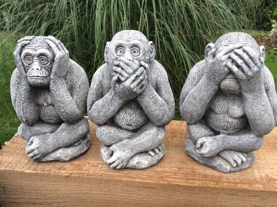 Stone Garden Set Of 3 Wise Monkey Chimpanzee Chimp See Hear
