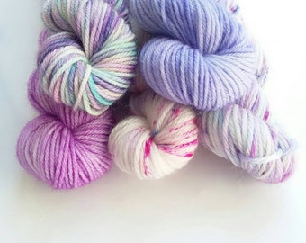 Hand dyed yarn mini skeins merino hand dyed wool 4ply sock minis merino wool knitting yarn UK  20g x 5 Down in the Bluebell woods