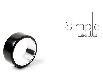 Black ring, aluminium ring, aluminium jewelry, man ring, aluminium jewellery,