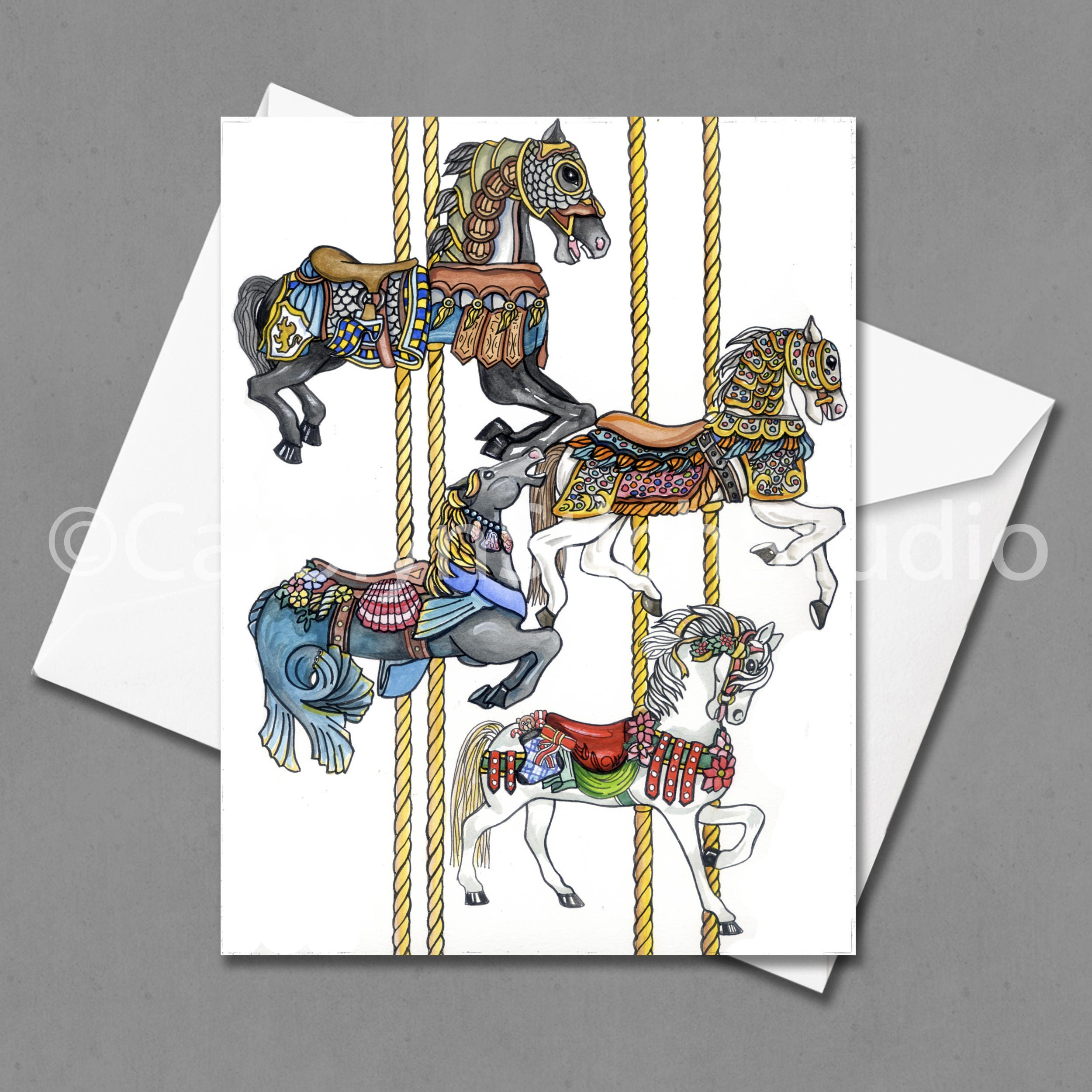 Carousel Matted Print And Greeting Card By Carolyn Stich