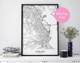 Hobart, Tasmania City Map Print Wall Art | Print At Home | Digital Download File