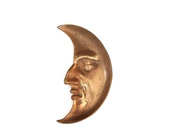 Vintage Crescent Moon Face - Moon Decor - Moon Gift - Antique Moon Face - Man in the Moon - Antique Bronze Moon Tray - Unique Gift -Pin Tray