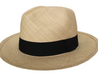 Handwoven Beige Panama Straw Hat