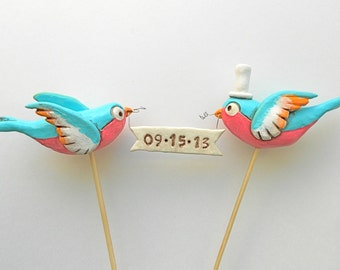 Swallows in Love wedding cake topper in Pink Turquoise and Tangerine