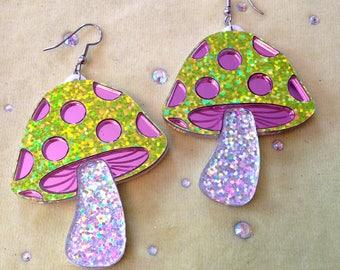 Magical Glitter Mushroom Earrings, Laser Cut Acrylic, Plastic Jewelry
