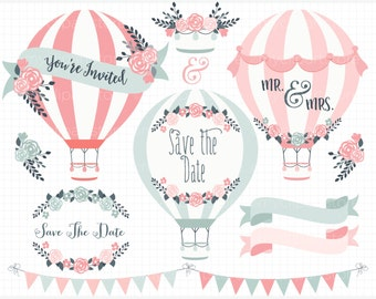 Clipart - Hot Air Balloons (#1) / Wedding clipart / Shabby chic roses - Digital Clip Art (Instant Download)
