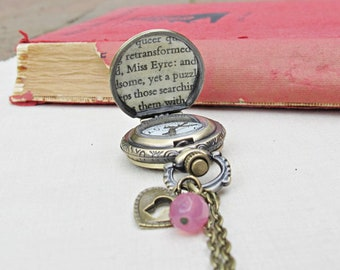 SALE Jane Eyre Pocket Watch Necklace - Pocketwatch Timepiece Jewellery Jewelry For Women - Charlotte Bronte Bookworm Gift Bookish Literary