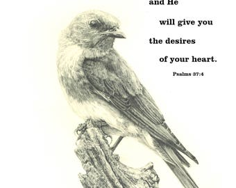 Fine Print of an original drawing of Bluebird with Scripture Verse