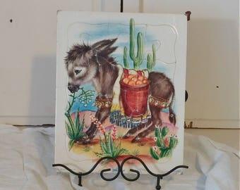 Vintage Playskool Donkey Puzzle