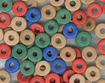 Disc Wafter Beads, 8mm Fall Color Ceramic Disc Wafer Spacer Beads, 100 Beads in Red Green Blue and Brown