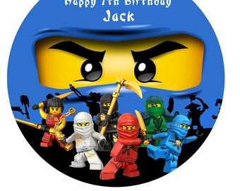 "Ninjago ninja personalised Cake Topper Edible Wafer Paper 7.5"" ninja Jai"