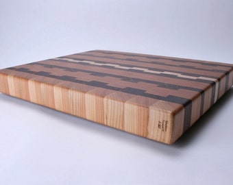 Cherry Walnut and Maple Book Matched End Grain Cutting Board #185