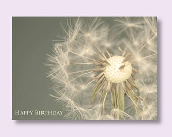Flower Birthday Photo Card, Dandelion Card, Flower Card, Floral Birthday Card, Grey Birthday Card