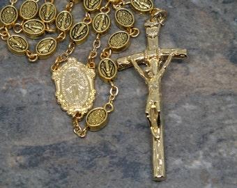 Alle Metall Rosenkranz in Goldtönen, 5 Jahrzehnt wundertätige Medaille Rosenkranz