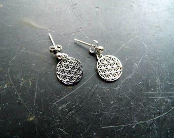 Earring, earrings, Flower of life, silver, sacred Geometry, flower