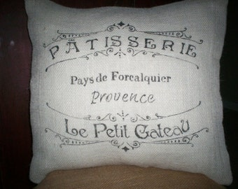 "Shabby Chic Country French 16""x16"" Patisserie in Provence White Burlap Pillow Cover"