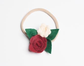 Felt Flower Headband, Christmas Headband, Newborn Headband, Felt Flower Clip
