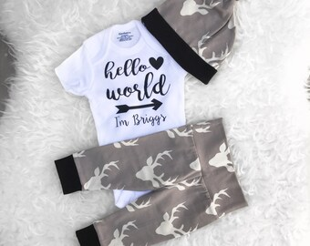Hello World Newborn Outfit, Going Home Outfit, Hello World, Newborn Set, Personalized Bodysuit, Going Home Outfit Baby Boy, Newborn Set