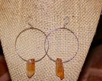 Quartz spike hoop earrings