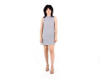 90s Grey MINIMAL Perfectly Simple Sleeveless Shift Mini Dress