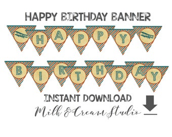 Happy Birthday Banner, Printable File, Instant Download, Vintage Airplane, Boys Birthday, Red Blue Aviation Party