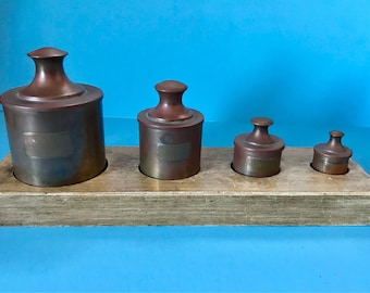 4 Metal Containers with Stand Marks Tobacco Things Matches and Pills
