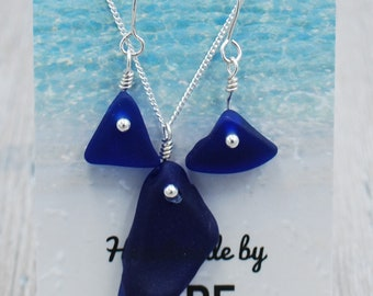 Thick Cobalt Blue Maine Sea Glass Earrings and Necklace Set