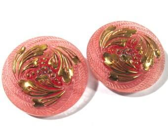 27mm Czech Buttons TWO (2) Hand Painted Foliage VINTAGE Czech Glass Button Pink Gold Luster Czech Glass Wedding Jewelry Supplies (S215)