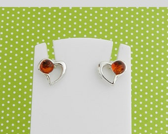 Earrings in amber and silver hearts