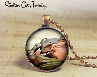 "Hippos in Love Necklace - 1-1/4"" Circle Pendant or Key Ring - Handmade Wearable Photo Art Jewelry - Nature Art - Wildlife - Gift"