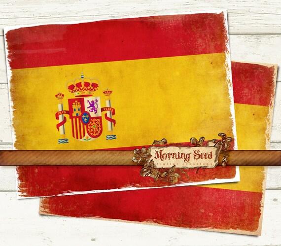 drapeau espagne art mural rustique espagnol fer imprimable sur