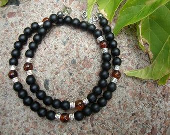Black beaded necklace for man Onyx quartz beaded Mens necklace Gemstone mens jewelry Stone jewelry Gift for man Beaded jewelry for men gift
