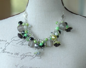 Lime Green Grey and Black Convertible Charm Bracelet and Choker Necklace , Cluster Charm Bracelet and Necklace in One