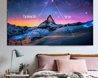 Motivating Night Mountains Canvas, Large Art Print, Motivational Hipster Poster, triangle night sky interior decor, I'm doing this for me