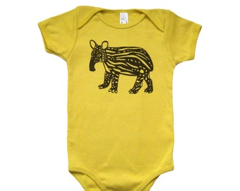 Baby Tapir Organic Bodysuit Mustard Yellow