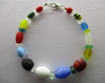 GENUINE SEA GLASS Bracelet Red Green Blue Yellow Black White Vintage Beach Found Beads Surf Tumbled Sterling Silver Seaglass Jewelry  B 455