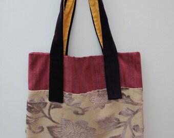 Canvas Tote Bag, Devore, Velvet, Floral, Pink, Purple Velvet.